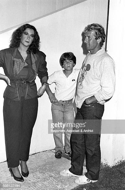 Italian actress Stefania Sandrelli and her husband Nicky Pende with their son Vito at Villaggio Tognazzi Torvaianica 3rd September 1982