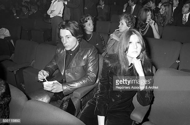 Italian actress Stefania Sandrelli attending a premiere at Sistina Theatre with Federico Pantanella Rome 1969