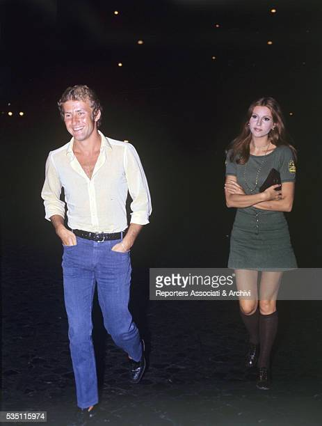 Italian actress Stefania Sandrelli walking by night with her husband Nicky Pende 1972