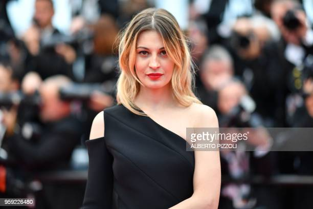 Italian actress Sveva Alviti poses as she arrives on May 16 2018 for the screening of the film 'Burning' at the 71st edition of the Cannes Film...