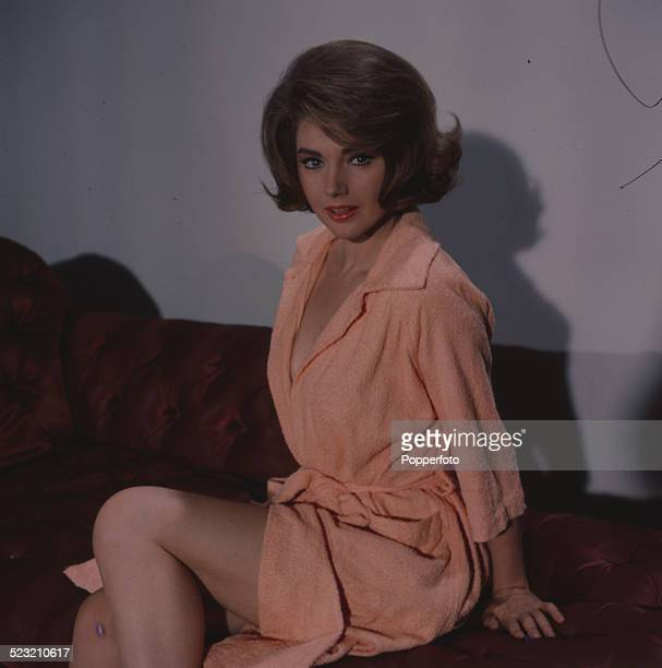 Italian actress Sylva Koscina posed wearing a peach coloured robe in London in 1963