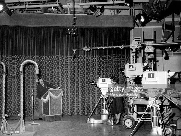 Italian actress Tatiana Farnese in the TV studio number one joking with Italian presenter and actor Mario Riva during a break in the rehearsals of...