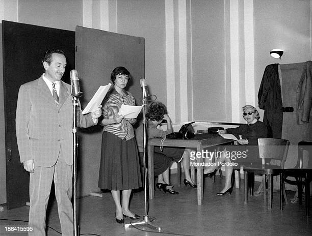 Italian actress Tatiana Farnese taking part in the recording of a radio broadcast Rome 1959