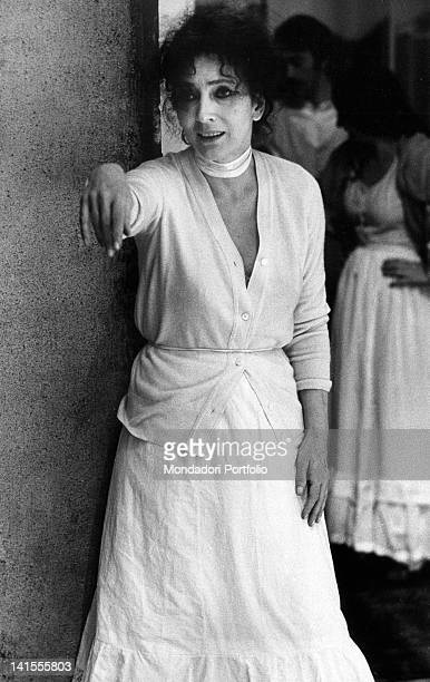 Italian actress Valentina Cortese acting during the rehearsal of 'The Cherry Orchard' by Anton Checov playing at Piccolo Teatro di Milano Milan May...