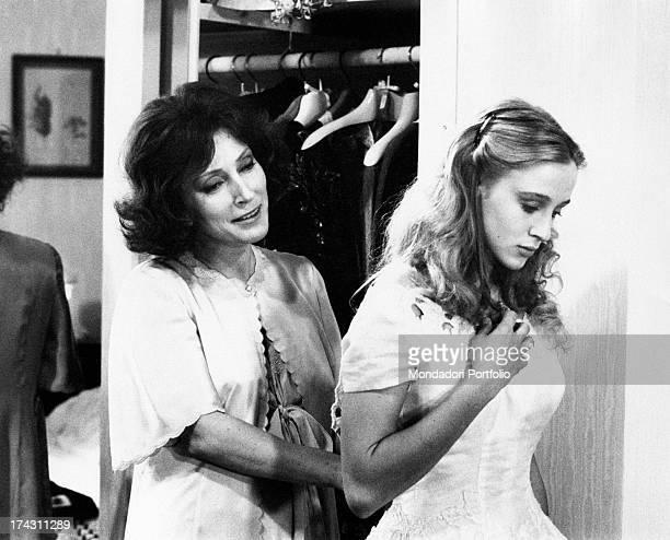 Italian actress Valentina Cortese comforting the young Italian actress Eleonora Giorgi in the film Appassionata Rome 1974