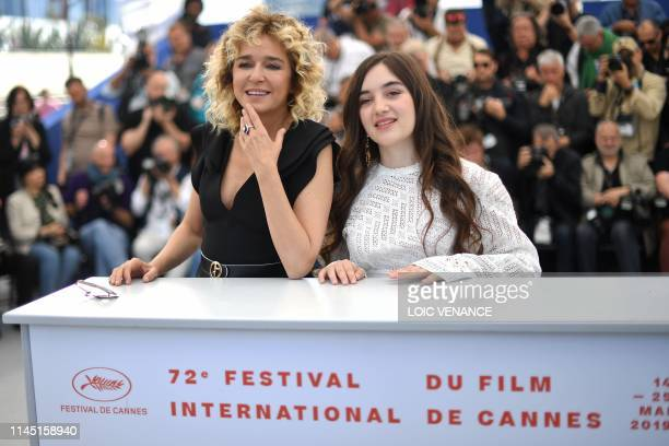 Italian actress Valeria Golino and French actress Luana Bajrami pose during a photocall for the film Portrait Of A Lady On Fire at the 72nd edition...