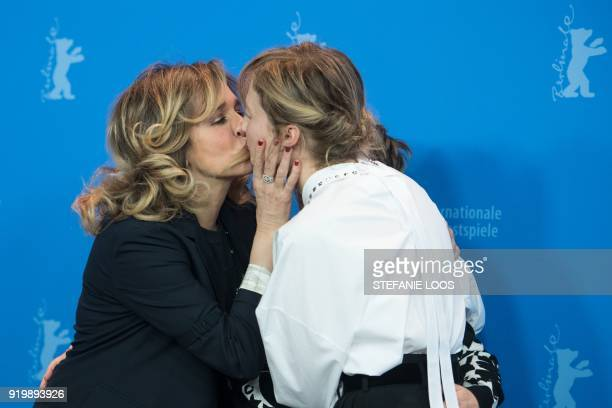 Italian actress Valeria Golino and Italian actress Alba Rohrwacher kiss during a photocall for the film 'Figlia Mia | Daughter of Mine' presented in...