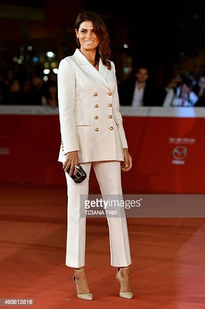 Italian actress Valeria Solarino poses on the red carpet as she arrives for the screening of the movie Dobbiamo Parlare presented at the 10th Rome...