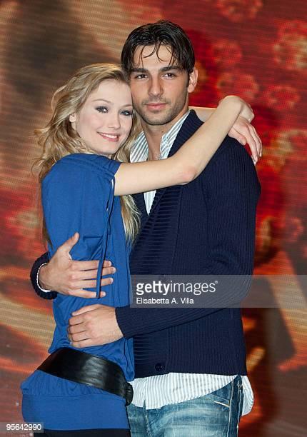 Italian actress Veronica Olivier and her dance partner Raimondo Todaro attend a photocall for the Italian TV show 'Ballando Con Le Stelle' at...