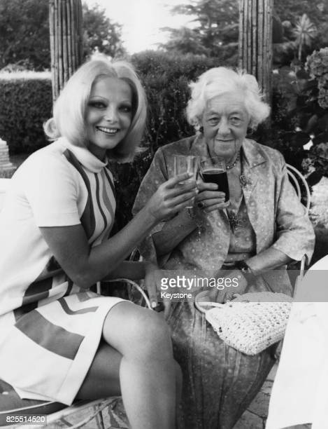 Italian actress Virna Lisi and English actress Margaret Rutherford at a press conference in Rome Italy before commencing work on the Italian film...