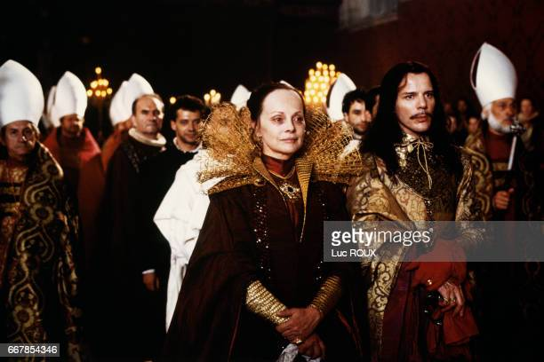 Italian actress Virna Lisi and French actor Pascal Greggory on the set of the 1994 film La Reine Margot directed by Patrice Chereau