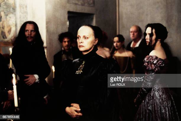 Italian actress Virna Lisi and French actress Isabelle Adjani on the set of the 1994 film La Reine Margot directed by Patrice Chereau