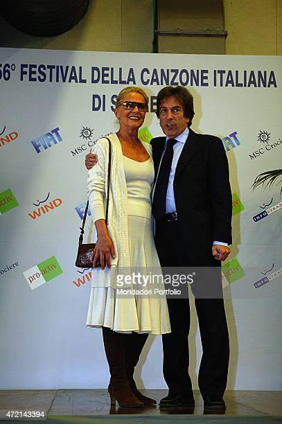 'Italian actress Virna Lisi and Italian journalist and director of Rai Uno Fabrizio Del Noce posing togheter during the 56th Sanremo Music Festival...