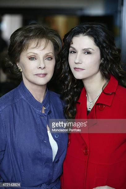 Italian actress Virna Lisi and Italianborn French showgirl Alessandra Martines posing on the set of TV series Caterina e le sue figlie 2004