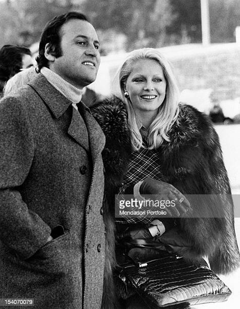 Italian actress Virna Lisi smiling with her husband Franco Pesci Cortina d'Ampezzo 1973