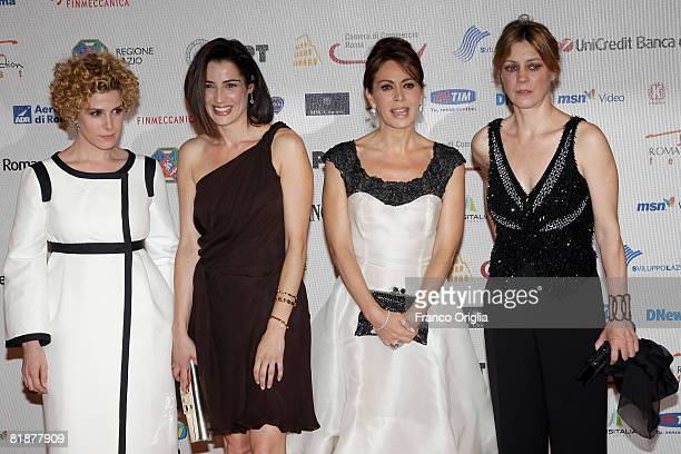 Italian actresses Cecilia Dazzi Luisa Ranieri Elena Sofia Ricci and Margherita Buy attend the third day of Roma Fiction Fest 2008 at the Auditorium...