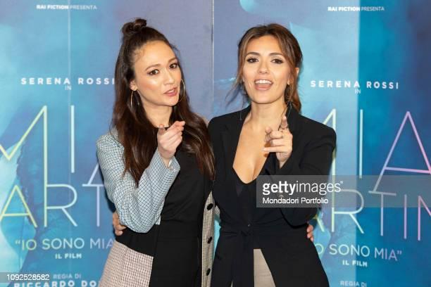 Italian actresses Dajana Roncione and Serena Rossi at the press conference for the presentation of the film Io sono Mia dedicated to Mia Martini...
