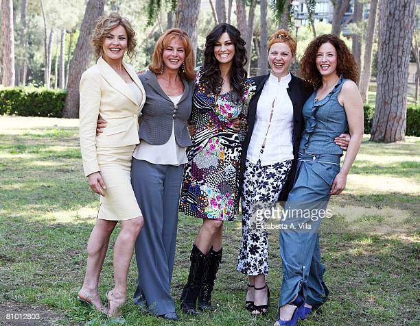 Italian actresses Eva Grimaldi, Giuliana De Sio, Manuela Arcuri, Valeria Milillo and Simona Borioni attend a photo call promoting Italian TV Film...
