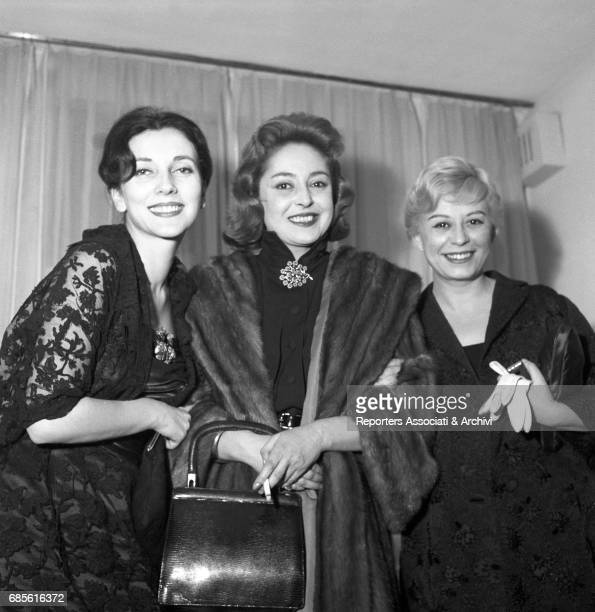 Italian actresses Giulietta Masina Valentina Cortese and Lea Padovani at the premiere of the play Cat on a Hot Tin Roof at Teatro Eliseo Rome January...