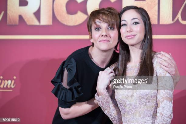 Italian actresses Lucia Ocone and Tess Masazza during the photocall of the Italian movie 'Poveri Ma Ricchissimi' directed by Fausto Brizzi