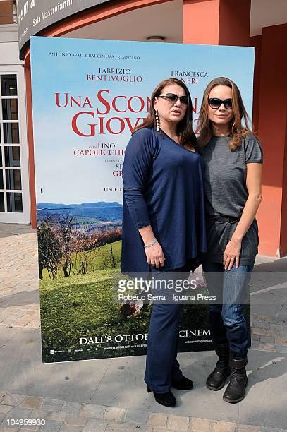 Italian actresses Serena Grandi and Francesca Neri attend the screening of director's Pupi Avati film 'Una Sconfinata Giovinezza' at Cineteca di...