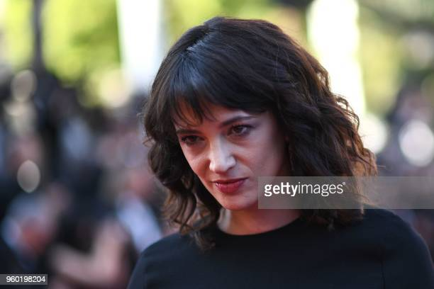 Italian actrses Asia Argento poses as she arrives on May 19 2018 for the closing ceremony and the screening of the film The Man Who Killed Don...
