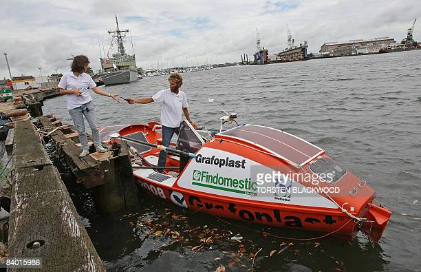 Italian adventurer Alex Bellini, who spent the past 10 months rowing solo across the Pacific Ocean from Peru, and his wife Francesca prepare to leave...