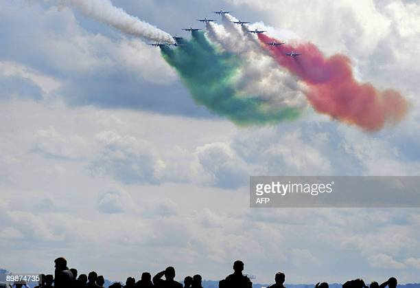 """Italian aerobatic team """"Frecce Tricolori"""" performs during the MAKS 2009 international aerospace show outside Moscow in Zhukovsky on August 19, 2009...."""