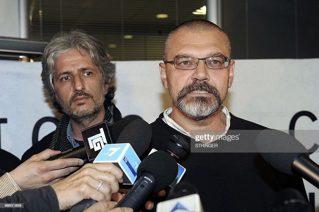 Italian aid workers Marco Garatti (L) and Matteo Dell'Aira (R) from the aid agency 'Emergency' answer journalists' questions during a press conference on April 23, 2010 in Milan. Three Italian charity workers freed on April 18 more than a week after being arrested for allegedly plotting to kill an Afghan official said investigations had proved them innocent. Matteo Dell'Aria, Marco Garatti and Matteo Pagani work for the Milan-based medical charity Emergency and were arrested on April 10 near the charity's hospital in Lashkar Gah, capital of restive Helmand province.