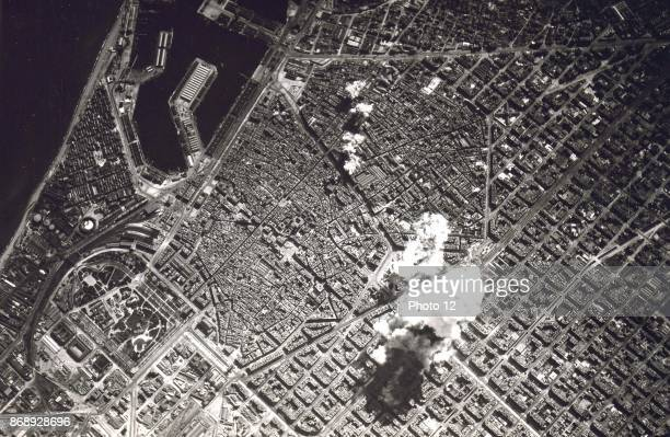 Italian air force bombardment of Barcelona during the Spanish Civil War 1936.