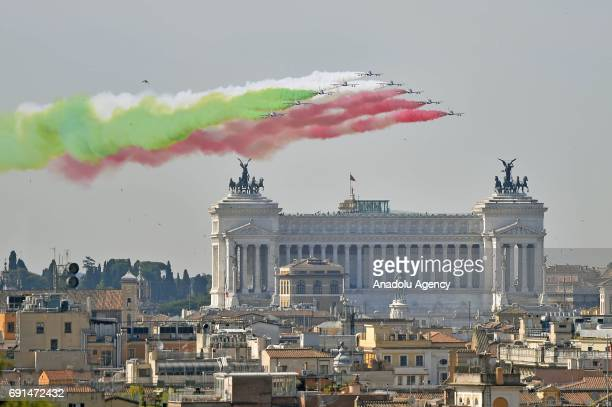 Italian Air Force 's Frecce Tricolori team performs over the Vittoriano Monument during the 71st celebrations of the Italian Republic Day in Rome...