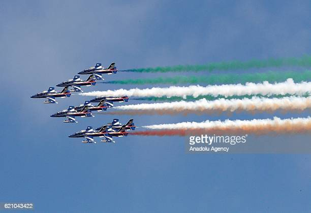 Italian Air Force's Frecce Tricolori acrobatic squad perform during a ceremony to celebrate on the Armed Forces Day marking the 98th anniversary of...
