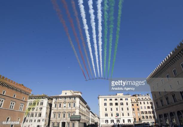Italian Air Force's Frecce Tricolori acrobatic squad perform during a ceremony to mark the 156th anniversary of the Italian unification in Rome Italy...