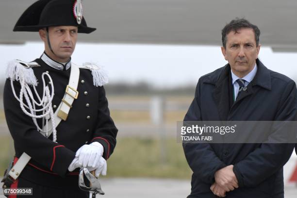 Italian airline company Alitalia's designated chairman Luigi Gubitosi waits for the arrival of Pope Francis upon his departure to Egypt, on April 28,...