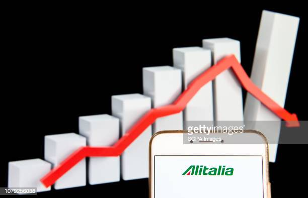 Italian Alitalia airline logo is seen on an Android mobile device with a graph showing sharp losses in the background