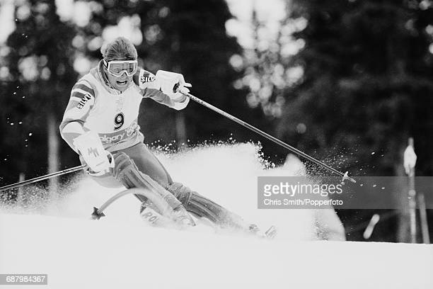 Italian alpine ski racer Oswald Totsch pictured in action during competition to finish in 8th place in the Men's slalom event at Nakiska on Mount...