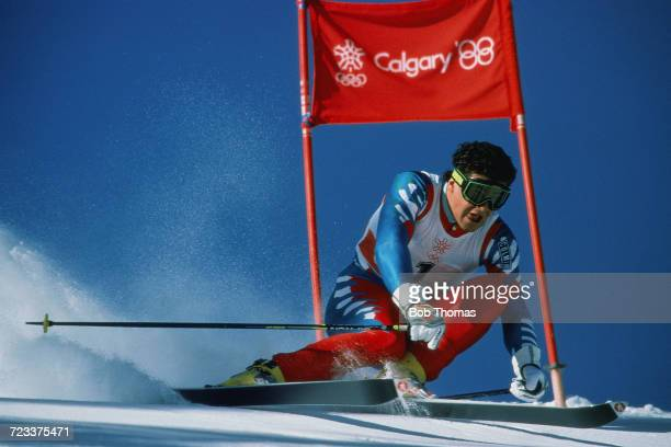 Italian alpine skier Alberto Tomba of the Italy team pictured in action to finish in first place to win the gold medal in the Men's giant slalom...