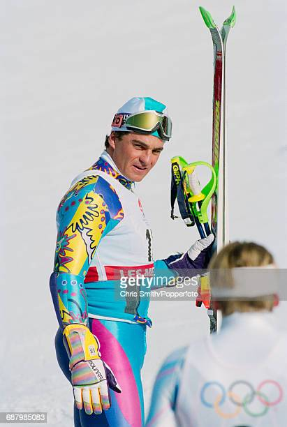 Italian alpine skier Alberto Tomba pictured after finishing in second place to win the silver medal in the Men's slalom event at Les Menuires during...