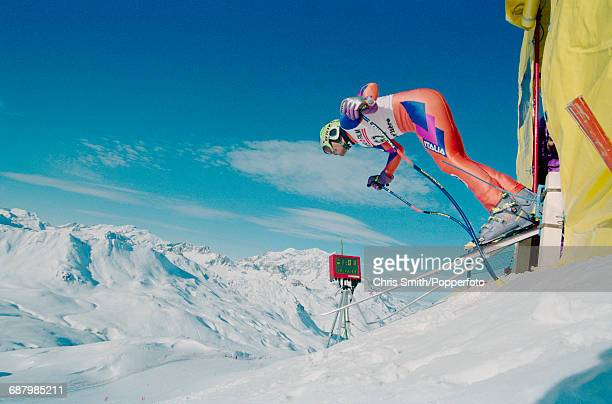 Italian alpine skier Ernesto De Mattia pictured in competition at the start of the Men's Super G event during the 1994 Alpine Skiing World Cup at Val...