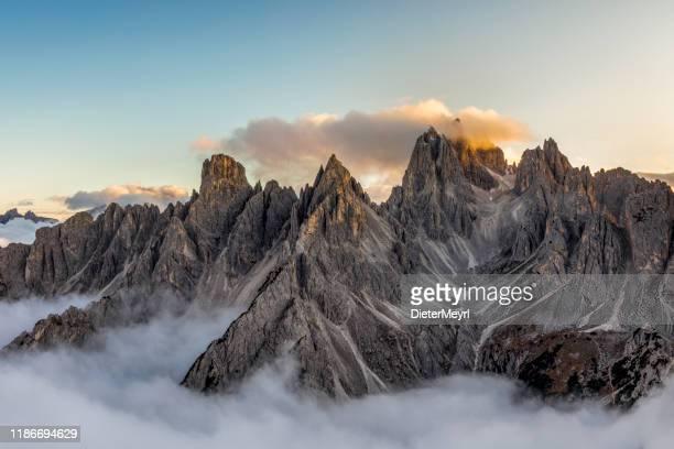 italian alps - mountains range near the tre cime di lavaredo. view from above - mountain imagens e fotografias de stock