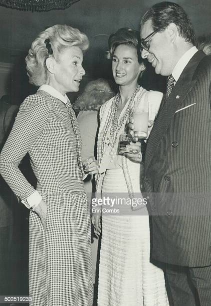 Italian Ambassador Paolo Fulci and his Chanelclad wife Claris centre talk with Lady Thomson during the reception