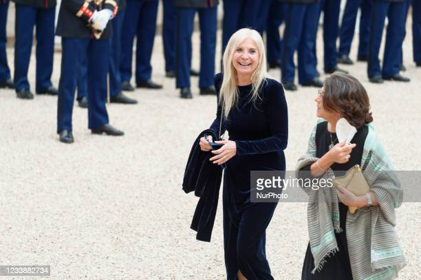 Italian Ambassador to France Teresa Castaldo arrives for state diner with Italian President Sergio Mattarella and his daughter Laura Mattarella and...