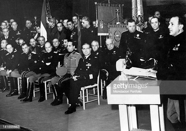 Italian ambassador to Germany Dino Alfieri delivering a commemorative speech in honour of journalist Arnaldo Mussolini before some National Fascist...