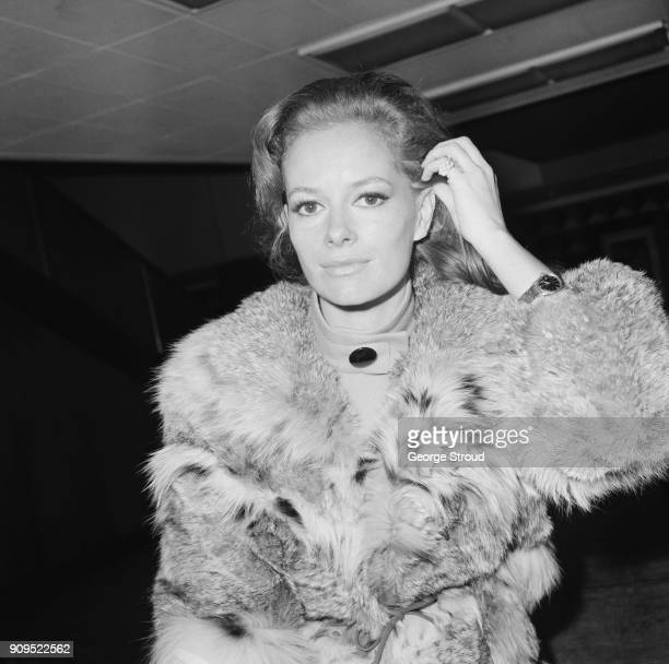 Italian American actress Luciana Paluzzi at Heathrow Airport, London, UK, 26th November 1968.