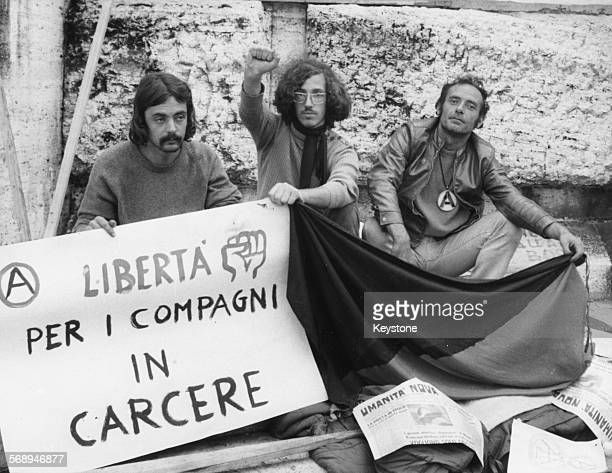 Italian anarchist Pietro Valpreda pictured during a protest, who is now charged with an act of terrorism in the Banca dell'Agricoltura where 14...