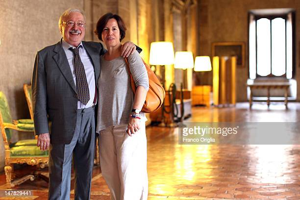 Italian anchorman Gianni Mina and his wife attend the Chevalier de l'Ordre des Arts et des Lettres award to Stefania Sandrelli at Palazzo Farnese on...