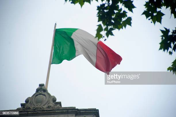Italian and European flags wave outside the Embassy of the Italian Republic in London on May 29 2018 Italian President Sergio Mattarella has asked an...