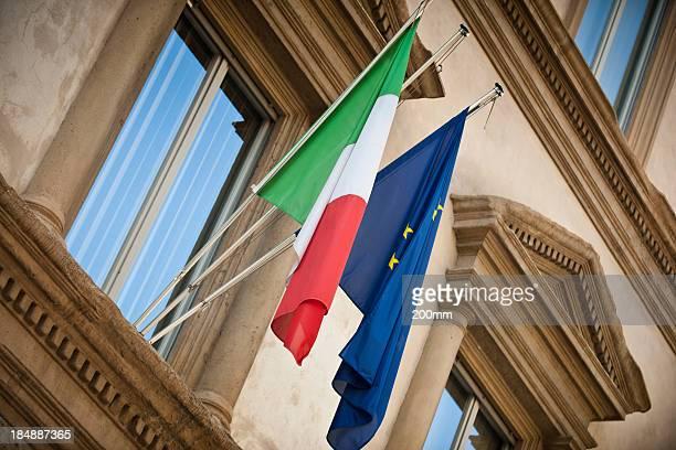 Italian and European union flag