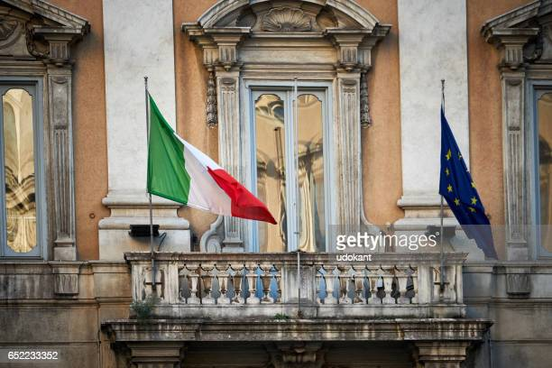 Italian and Europen flags from a balcony, Rome