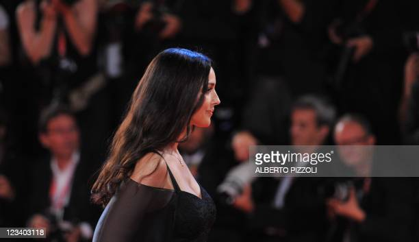 """Italian and French actress Monica Bellucci arrives for the screening of """"Un ete brulant"""" at the 68th Venice Film Festival on September 2, 2011 at..."""